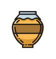 clay honey pot thin line flat style icon vector image vector image