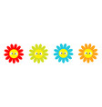 colorful daisy chamomile set line smiling face vector image vector image