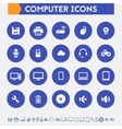 Computer icon set Material circle buttons vector image vector image
