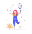 cute girl playing badminton outdoors in park vector image vector image