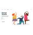 dance studio landing page dancing people vector image