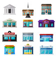 different shops institutions and stores flat icon vector image vector image