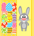 easter background card with rabbit and eggs yellow vector image vector image