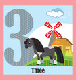 flat animal numbers 3 vector image