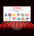 flat cinema elements set vector image vector image