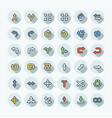 flat color thin line icons set with arrows vector image