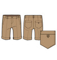 front and back view of knee-length shorts vector image vector image