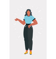girl in full-length points with her hand vector image vector image