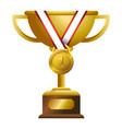 gold trophy with medal vector image vector image