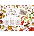 hand written christmas greeting holiday card in vector image vector image