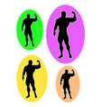 male bodybuilder logo silhouette vector image