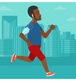 Man jogging with earphones and smartphone vector image vector image