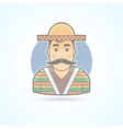 Mexican man in traditional clothes icon vector image