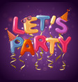 party balloon letters background vector image vector image