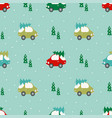 pattern with cars and trees vector image
