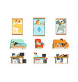people sleeping in different positions at home and vector image vector image