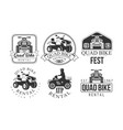 quad bike fest premium retro labels set atp vector image vector image