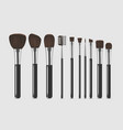 realistic detailed cosmetic brushes narrow set vector image vector image