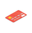 red bank credit card isolated isometric 3d icon vector image