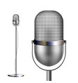 retro chrome microphone with stand musical vector image