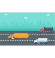 Road tanker delivery and drump truck landscape vector image