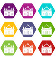 royal castle icon set color hexahedron vector image vector image