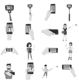 Selfie icons set gray monochrome style vector image