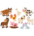 set isolated farm animals vector image vector image