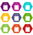 shopping bag icon set color hexahedron vector image vector image