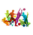 soccer players silhouettes with ball vector image vector image