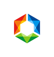 triangle colorful prism gem technology logo vector image vector image
