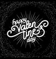valentines day hand made lettering with burst rays vector image vector image