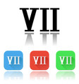 vii roman numeral icons colored set with vector image vector image