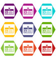 identification card icon set color hexahedron vector image