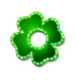 Shine lucky clover with shadow on white background vector image