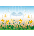 Wildflowers and the frame of heart vector image