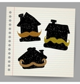 House with mustaches doodle concept vector image
