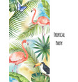 watercolor vertical banner tropical leaves