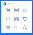9 plus icons vector image vector image