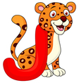 Alphabet J with jaguar cartoon