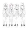anime manga girls vector image vector image