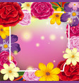 border template with flowers on pink background vector image vector image