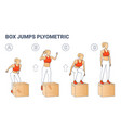box jumps woman silhouettes colorful plyometric vector image