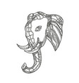 bull elephant head doodle art vector image vector image