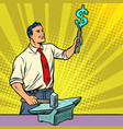 businessman blacksmith forges money on the anvil vector image vector image