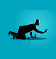 businessman crawling on crack land vector image vector image