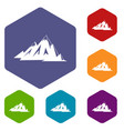 canadian mountains icons set hexagon vector image