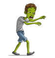 cartoon walking tired zombie boy character vector image vector image