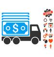 cash lorry icon with valentine bonus vector image vector image