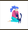 character happy people with their pets vector image